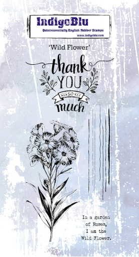 Wild Flower DL Red Rubber Stamp
